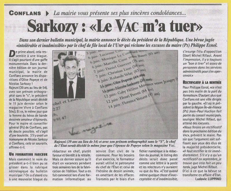 Article La Gazette du Val d'Oise  2 Sarko DCD 15 07 09 b