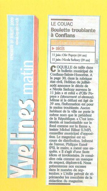 Article Le Parisien Sarko DCD 15 07 09 paysage