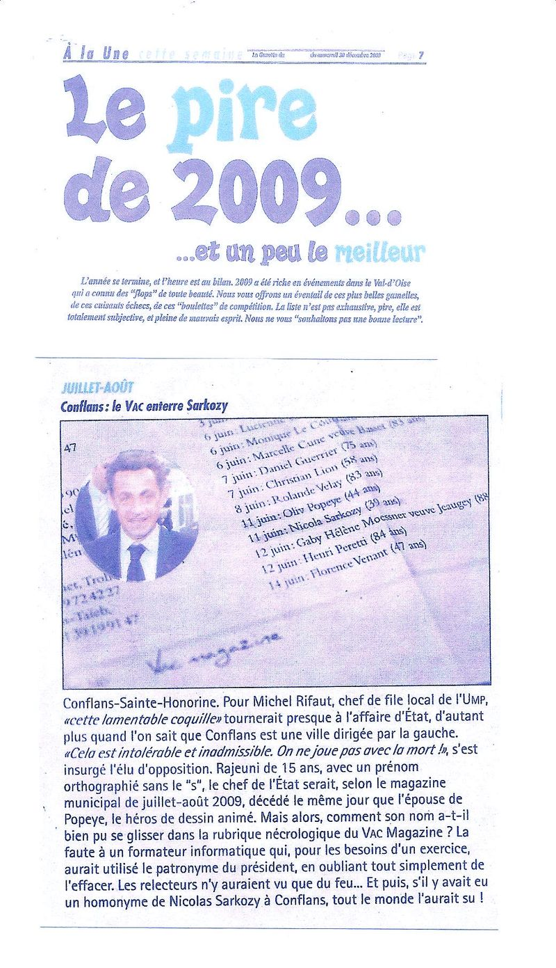 LA GAZETTE RESTROSPECTIVE TOTALE 2009 SARKO