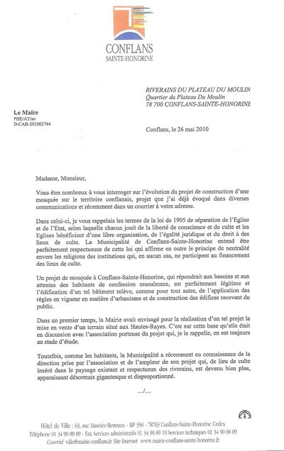 MOSQUEE LETTRE DU MAIRE 26 MAI PAGE 1