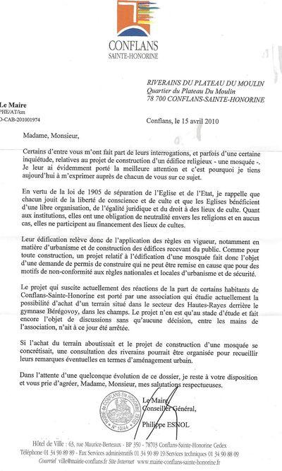 Mosquée lettre Maire 1 page 15 04 10
