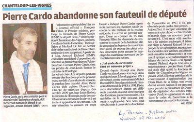 DEMISSION DE P. CARDO LE PARISIEN 28 05 2010