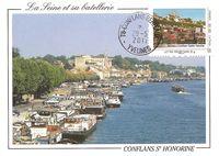 Timbre-poste bateaux à conflans ste hne sur carte postale