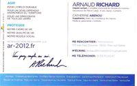 CARTE DE VISITE D'ARNAUD RICHARD VERSO