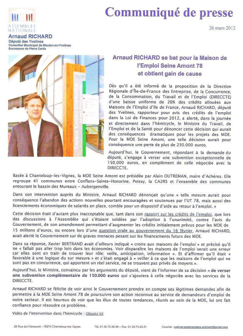 CP D'AR SUR MAISON DE L'EMPLOI DU 26 03 2012