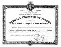 DIPLOME D'HONNEUR DU TRAVAIL
